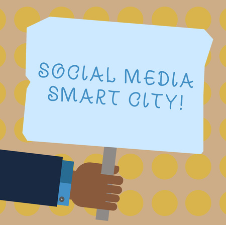 Conceptual hand writing showing Social Media Smart City. Business photo showcasing Connected technological advanced modern cities Hu analysis Holding Colored Placard with Stick Text Space