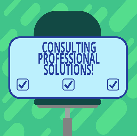 Conceptual hand writing showing Consulting Professional Solutions. Business photo showcasing Looking for expert to develop solutions Blank Rectangular Shape Sticker Sitting on a Swivel Chair