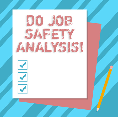 Writing note showing Do Job Safety Analysis. Business photo showcasing Business company security analytics control Stack of Different Pastel Color Construct Bond Paper Pencil Stock Photo