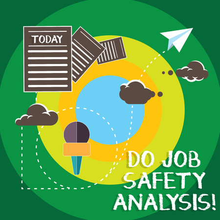 Conceptual hand writing showing Do Job Safety Analysis. Business photo text Business company security analytics control Information Passing through Cloud Hosting Fast delivery of Data