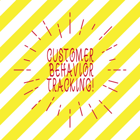 Handwriting text writing Customer Behavior Tracking. Concept meaning Action that a user takes related to your company Thin Beam Lines Spreading out Dash of Sunburst Radiating on Diagonal Strips Stock Photo