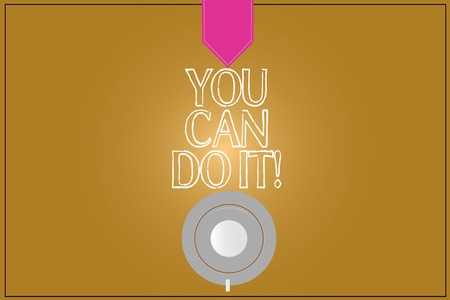 Text sign showing You Can Do It. Conceptual photo confident and willing to deal with problems or new tasks Coffee Cup Saucer Top View photo Reflection on Blank Color Snap Planner Reklamní fotografie
