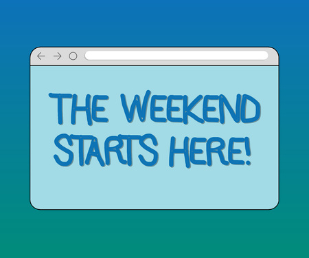 Handwriting text The Weekend Starts Here. Concept meaning Final of the week starting Friday party celebration Monitor Screen with Forward Backward Progress Control Bar Blank Text Space