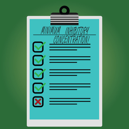 Conceptual hand writing showing Minimum Inhibitory Concentration. Business photo text lowest concentration of a chemical Vertical Clipboard with Check Box photo Blank Copy Space Imagens