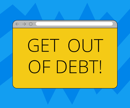 Text sign showing Get Out Of Debt. Conceptual photo No prospect of being paid any more and free from debt Monitor Screen with Forward Backward Progress Control Bar Blank Text Space 스톡 콘텐츠