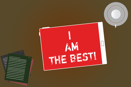 Handwriting text writing I Am The Best. Concept meaning Doing well in everything Successful Skilled and top notch Tablet Empty Screen Cup Saucer and Filler Sheets on Blank Color Background
