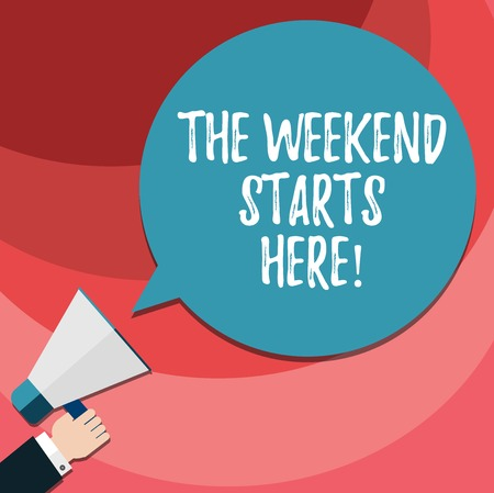 Word writing text The Weekend Starts Here. Business concept for Final of the week starting Friday party celebration Human analysis Hand Holding Megaphone Blank Round Color Speech Bubble photo Banco de Imagens