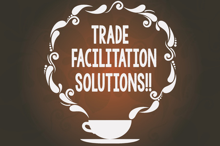 Word writing text Trade Facilitation Solutions. Business concept for harmonisation of international trade procedures Cup and Saucer with Paisley Design as Steam icon on Blank Watermarked Space Stok Fotoğraf