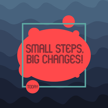 Text sign showing Small Steps Big Changes. Conceptual photo Make little things to accomplish great goals Asymmetrical Blank Oval photo Abstract Shape inside a Square Outline