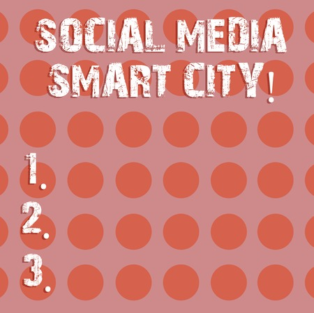 Text sign showing Social Media Smart City. Conceptual photo Connected technological advanced modern cities Circle photo Two Tone Blank Copy Space Template for Posters Ad Cards Banque d'images