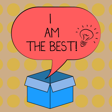 Word writing text I Am The Best. Business concept for Doing well in everything Successful Skilled and top notch Idea icon Inside Blank Halftone Speech Bubble Over an Open Carton Box