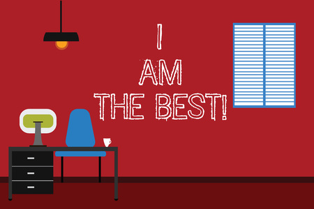 Conceptual hand writing showing I Am The Best. Business photo text Doing well in everything Successful Skilled and top notch Minimalist Interior Computer and Study Area Inside a Room