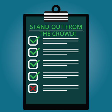 Writing note showing Stand Out From The Crowd. Business photo showcasing Be unique different original demonstratingal identity Lined Color Vertical Clipboard with Check Box photo Blank Copy Space Stock fotó