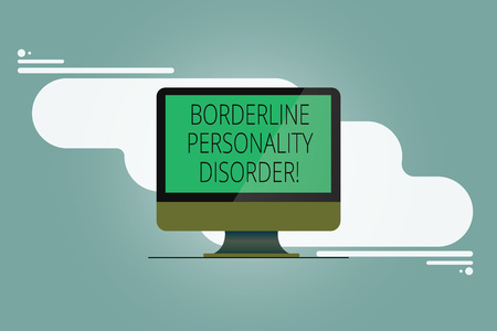 Conceptual hand writing showing Borderline Personality Disorder. Business photo showcasing mental disorder marked by unstable moods Mounted Computer Monitor Blank Screen on Abstract Background
