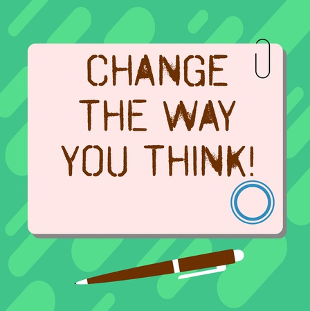 Handwriting text Change The Way You Think. Concept meaning Changing your ideas have imagination to improve Blank Square Color Board with Magnet Click Ballpoint Pen Pushpin and Clip