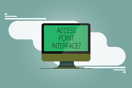 Conceptual hand writing showing Access Point Interfacequestion. Business photo showcasing Allow wireless device to connect to a network Mounted Computer Monitor Blank Screen on Abstract Background