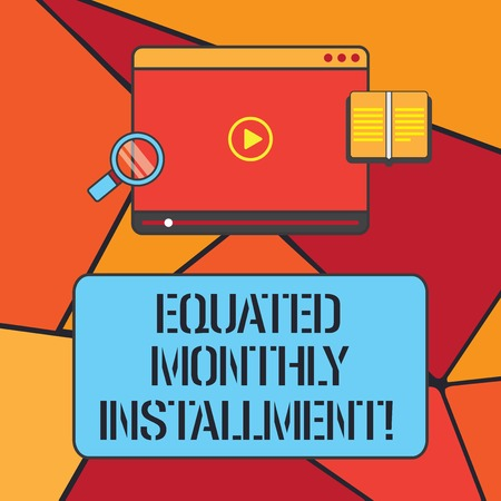 Conceptual hand writing showing Equated Monthly Installment. Business photo showcasing Constantamount repayment monthly instalments Tablet Video Player Upload and Magnifying Glass Text Space