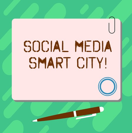 Handwriting text Social Media Smart City. Concept meaning Connected technological advanced modern cities Blank Square Color Board with Magnet Click Ballpoint Pen Pushpin and Clip