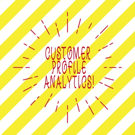Handwriting text writing Customer Profile Analytics. Concept meaning Customer profile or target market analysis Thin Beam Lines Spreading out Dash of Sunburst Radiating on Diagonal Strips