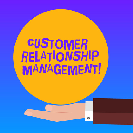 Handwriting text Customer Relationship Management. Concept meaning analysisage and analyze customer interactions Human analysis Hand in Suit Offering Blank Solid Color Circle for Logo Posters Stock Photo