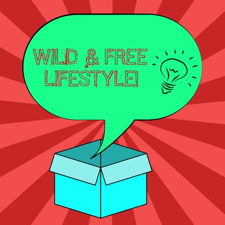 Conceptual hand writing showing Wild And Free Lifestyle. Business photo showcasing Freedom natural way of living outdoor activities Idea icon in Blank Halftone Speech Bubble Over Carton Box