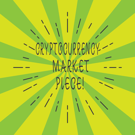 Handwriting text Cryptocurrency Market Piece. Concept meaning Digital asset that can be exchanged or trade Thin Beam Lines Spreading out on Two Tone Sunburst Explosion photo