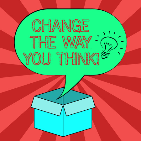 Conceptual hand writing showing Change The Way You Think. Business photo showcasing Changing your ideas have imagination to improve Idea icon in Blank Halftone Speech Bubble Over Carton Box
