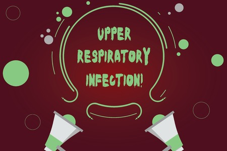 Handwriting text writing Upper Respiratory Infection. Concept meaning illnesses caused by an acute infection Two Megaphone and Circular Outline with Small Circles on Color Background