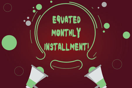 Handwriting text writing Equated Monthly Installment. Concept meaning Constantamount repayment monthly instalments Two Megaphone and Circular Outline with Small Circles on Color Background Stok Fotoğraf