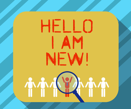 Text sign showing Hello I Am New. Conceptual photo Introducing yourself to unknown showing newbie in the team Magnifying Glass Over Chosen Man Figure Among the Hu analysis Dummies Line Up