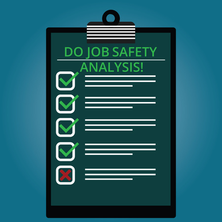 Writing note showing Do Job Safety Analysis. Business photo showcasing Business company security analytics control Lined Color Vertical Clipboard with Check Box photo Blank Copy Space