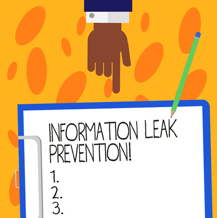 Text sign showing Information Leak Prevention. Conceptual photo Inhibiting critical information to outflow Hu analysis Hand Pointing Down to Clipboard with Blank Bond Paper and Pencil