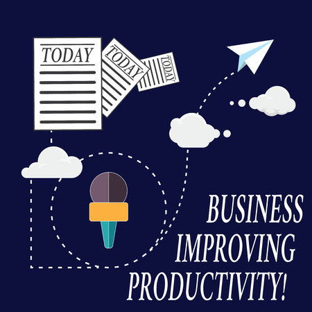 Text sign showing Business Improving Productivity. Conceptual photo Increase of efficiency in producing goods Information and Documents Passing thru Cloud Hosting Fast delivery of Data