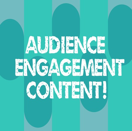 Conceptual hand writing showing Audience Engagement Content. Business photo showcasing Focusing on the wants of the focus audience Oblong Multi Tone Blank Copy Space for Poster Wallpaper Stock Photo