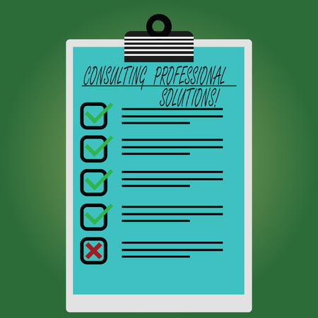 Conceptual hand writing showing Consulting Professional Solutions. Business photo text Looking for expert to develop solutions Vertical Clipboard with Check Box photo Blank Copy Space Archivio Fotografico