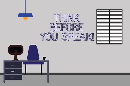 Word writing text Think Before You Speak. Business concept for Consider what you are going to say before do it Work Space Minimalist Interior Computer and Study Area Inside a Room photo Banco de Imagens