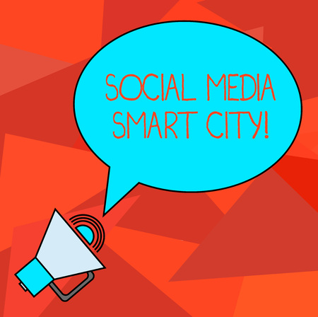 Conceptual hand writing showing Social Media Smart City. Business photo showcasing Connected technological advanced modern cities Oval Outlined Speech Bubble Text Balloon with Sound icon