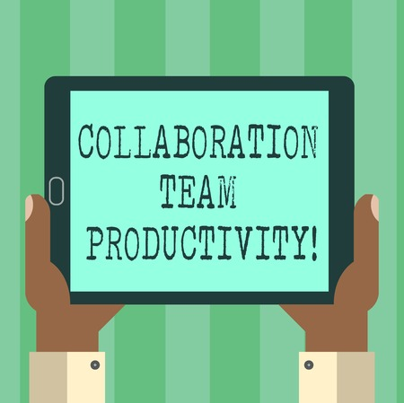 Handwriting text Collaboration Team Productivity. Concept meaning Set team goals for reaching common vision Hu analysis Hand Holding Blank Screen Tablet Smartphone Display Unit photo