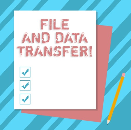 Writing note showing File And Data Transfer. Business photo showcasing Transferring information online by the internet Stack of Different Pastel Color Construct Bond Paper Pencil Stock fotó