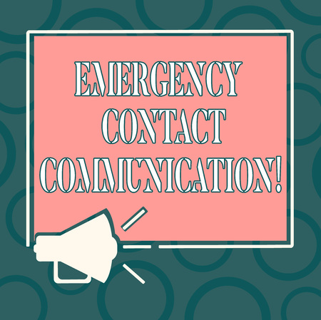 Writing note showing Emergency Contact Communication. Business photo showcasing Notification system or plans during crisis Megaphone Sound icon Outlines Square Loudspeaker Text Space photo Фото со стока