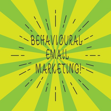 Handwriting text Behavioural Email Marketing. Concept meaning customercentric trigger base messaging strategy Thin Beam Lines Spreading out on Two Tone Sunburst Explosion photo Reklamní fotografie