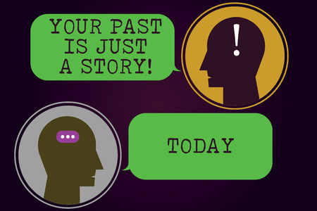 Text sign showing Your Past Is Just A Story. Conceptual photo Do not care about things that have happened Messenger Room with Chat Heads Speech Bubbles Punctuations Mark icon 스톡 콘텐츠