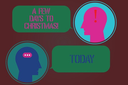 Word writing text A Few Days To Christmas. Business concept for Count down to xmas Winter celebration ending of year Messenger Room with Chat Heads Speech Bubbles Punctuations Mark icon Stock Photo
