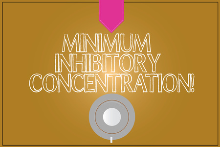 Text sign showing Minimum Inhibitory Concentration. Conceptual photo lowest concentration of a chemical Coffee Cup Saucer Top View photo Reflection on Blank Color Snap Planner