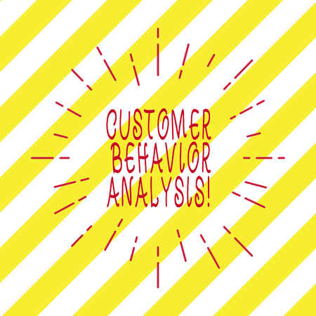 Handwriting text writing Customer Behavior Analysis. Concept meaning buying behaviour of consumers who use goods Thin Beam Lines Spreading out Dash of Sunburst Radiating on Diagonal Strips Stock Photo