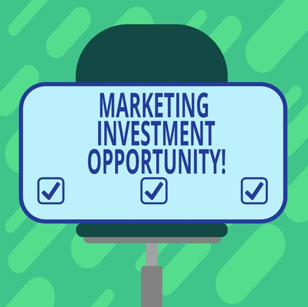 Conceptual hand writing showing Marketing Investment Opportunity. Business photo showcasing undertaking a new product or service Blank Rectangular Shape Sticker Sitting on a Swivel Chair