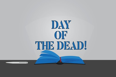 Text sign showing Day Of The Dead. Conceptual photo Mexican celebration honouring showing that have passed away Color Pages of Open Book photo on Table with Pen and Light Beam Glaring Stockfoto