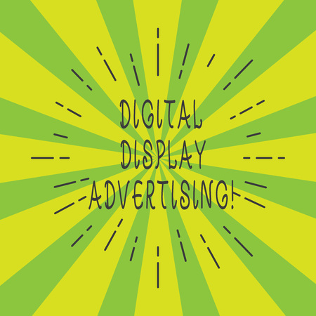 Handwriting text Digital Display Advertising. Concept meaning conveys a commercial message using graphics Thin Beam Lines Spreading out on Two Tone Sunburst Explosion photo