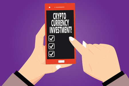 Text sign showing Crypto Currency Investment. Conceptual photo will become a longterm trusted store of value Hu analysis Hands Holding Pointing Touching Smartphone Blank Color Screen