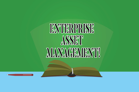 Text sign showing Enterprise Asset Management. Conceptual photo analysisaging the lifecycle of physical assets Color Pages of Open Book photo on Table with Pen and Light Beam Glaring